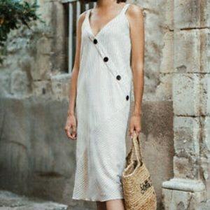 Zara White Striped Button Dress